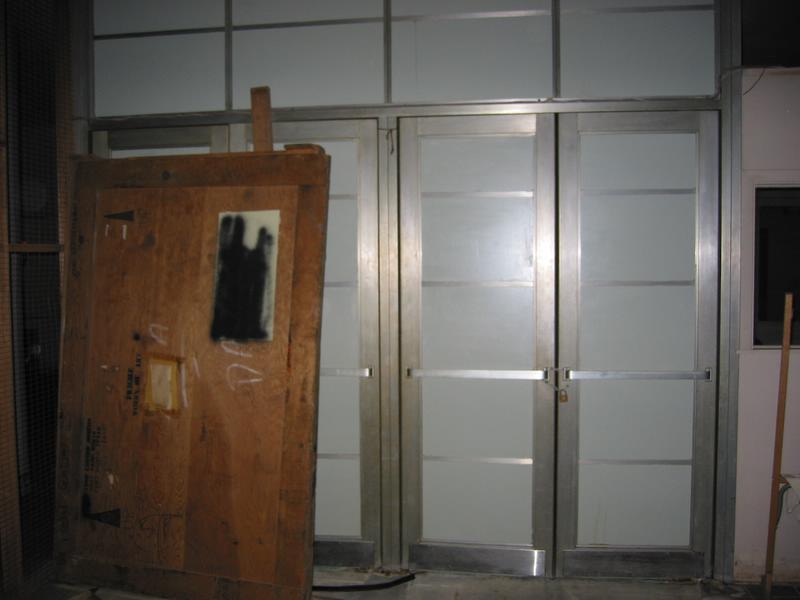 runs from the basement stainless steel doors form the basement